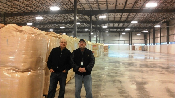General Contractor Jim Reb and Building Official Jeff Spencer inside the finished building