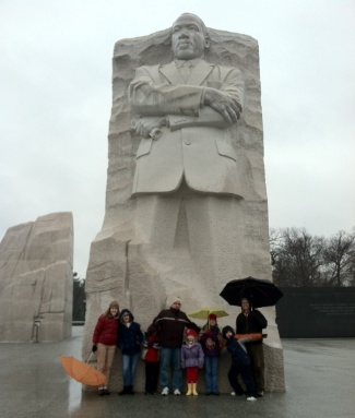 """My family and I standing in front of """"The Stone of Hope."""""""