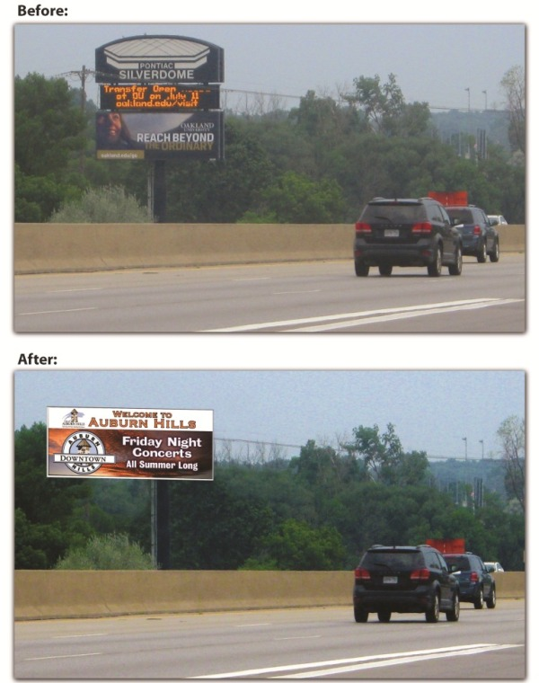 View of the existing sign and proposed replacement sign looking southbound on I-75