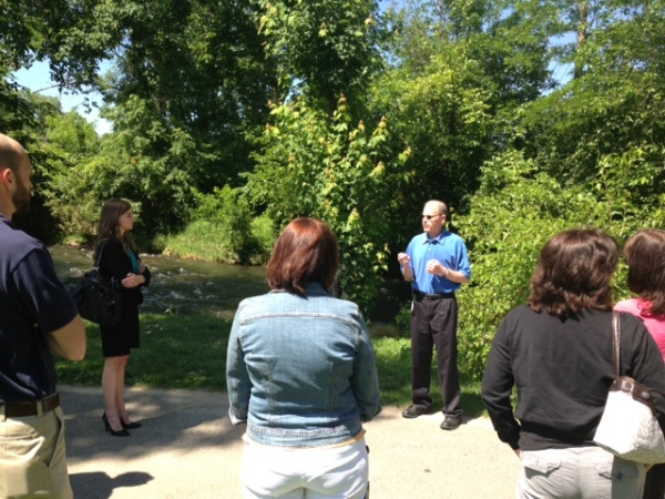 At Riverside Park, Water Resources Cordinator Shawn Keenan talked about how the City protect its water.