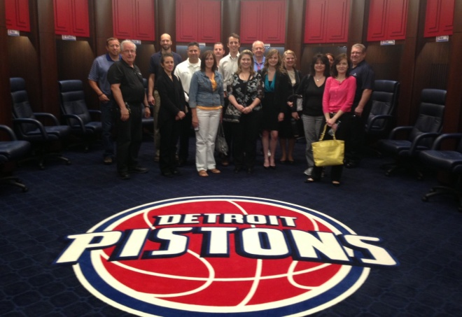 Facility managers Jim Summers and Mike Willaert gave the class an extensive tour of the Palace of Auburn Hills.  This photo was taken inside the Piston's game day locker room.