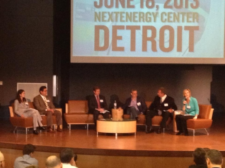 Panel with folks from U of M, (I'm 2nd to the left), Compuware, Greenlots, Garden Fresh Salsa, and GM
