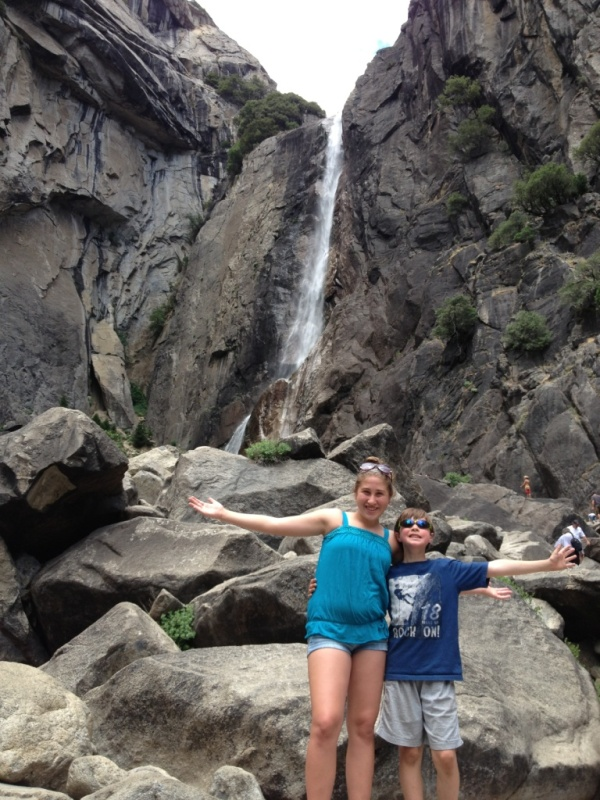 Kids infront of Yosemite Falls