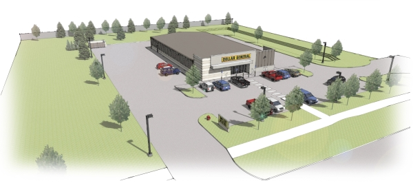Rendering of the Dollar General under construction
