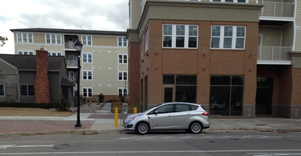 Recent photo taken of a Ford C-Max charging on Auburn Road in the Dowtown