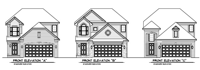 Concept Elevations of New Homes Proposed