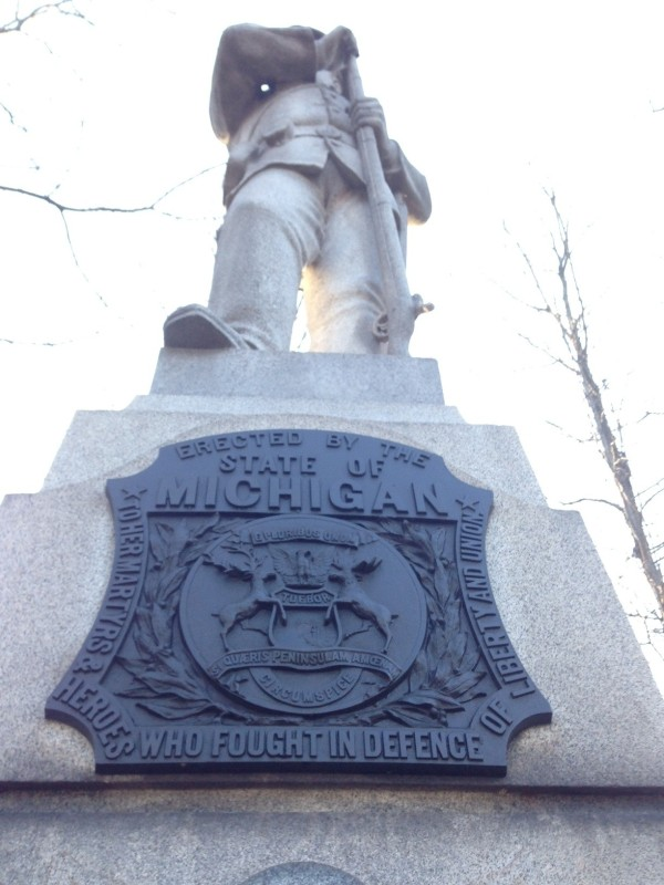 The monument to the 24th Michigan Volunteers in the Civil War Battle of Gettysburg.  The granite monument stands just over 14 feet tall.  The 24th lost more killed and wounded than any Union regiment at Gettysburg.
