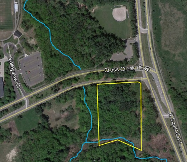 Noah's is planned in the area blocked in yellow.  The site is across the street from the City's municipal campus