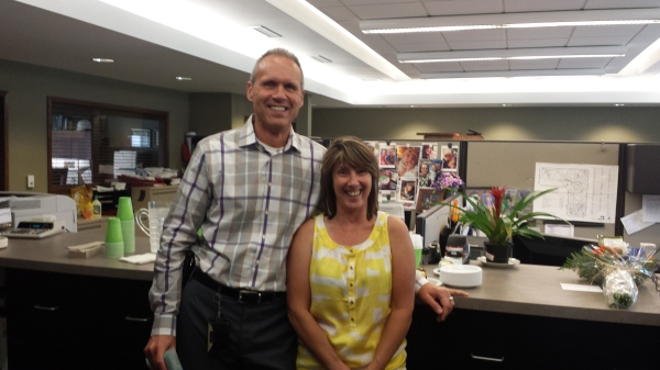 City Manager Tom Tanghe and Benita LaLone at her retirement party today