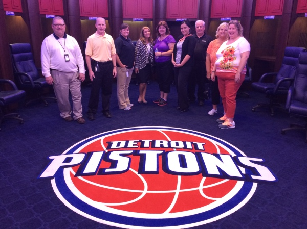 The AHU class in the Detroit Pistons locker room at the Palace of Auburn Hills