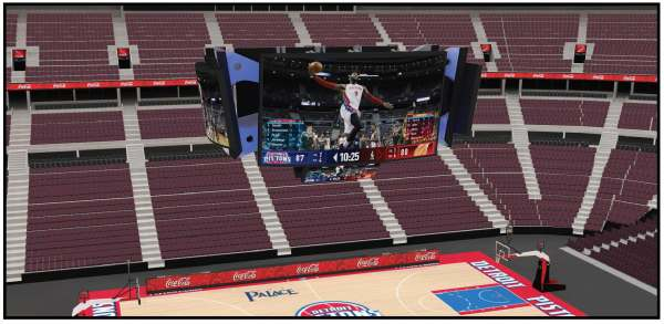 Rendering of view looking east at the new scoreboard above center court.