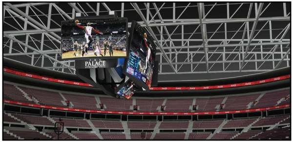 In addition to the center-hung scoreboard, new LED display bands will be added all around the circumference of the seating area and new LED signs will be installed above all the exits.  Rendering shows how it will look.