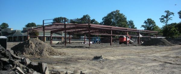 The steel frame of the Dollar General is currently being constructed
