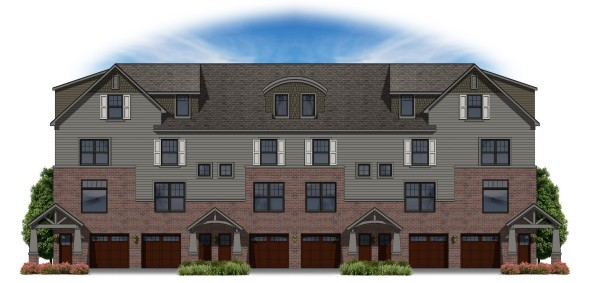 Rendering of the six-unit townhome building.  Three of these buildings will be built on the site.