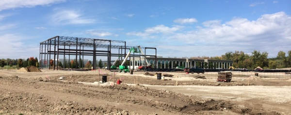 Steel erection for the front office section of the building began late last week
