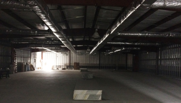 Inside shell of the Dollar General store under construction
