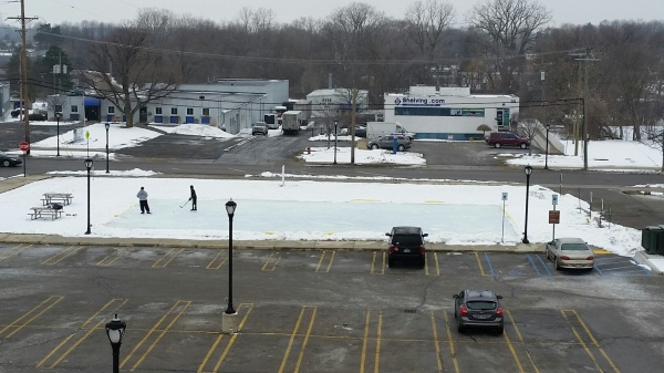 The temporary City ice rink is located just west of the Downtown parking deck and lot