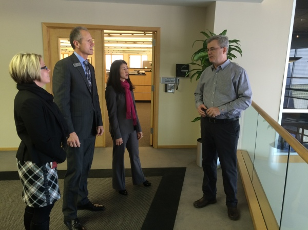 CCC's Vice President of Business Development Michael Hayes (right) providing a tour of the company's World Headquarters to the MEDC's Michelle Elder, Auburn Hills City Manager Tom Tanghe, and Auburn Hills Manager of Business Development and Community Relations Stephanie Carroll