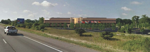 Rendering of new building under construction south of RGIS, visible from I-75