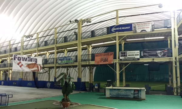 View of the driving range platform when the dome was inflated.