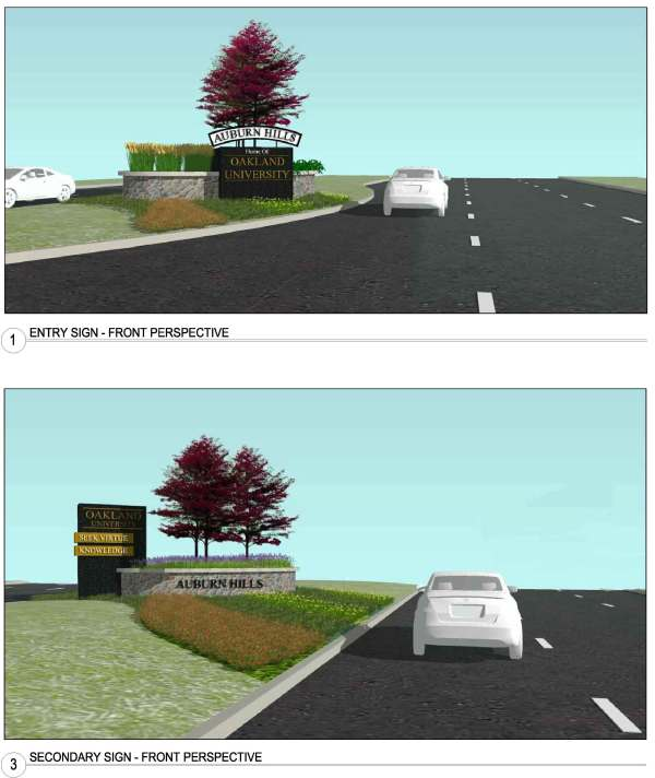 New branding monuments will be placed in the center boulevard with accent planting beds