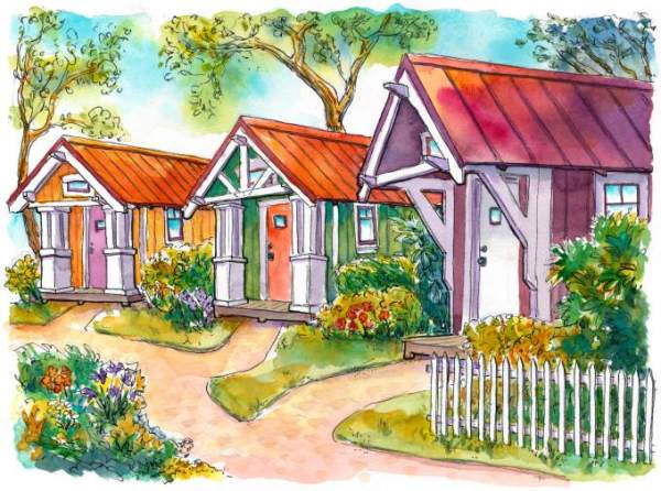 A community of tiny houses is being proposed in Sonoma County, California. It is designed for one-or two-person households and would function as a village co-op. (Richard Sheppard sketch)