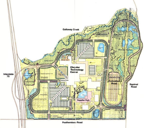 Chrysler Corporation's plan for the 504 acre site it purchased and rezoned to T&R District in 1986