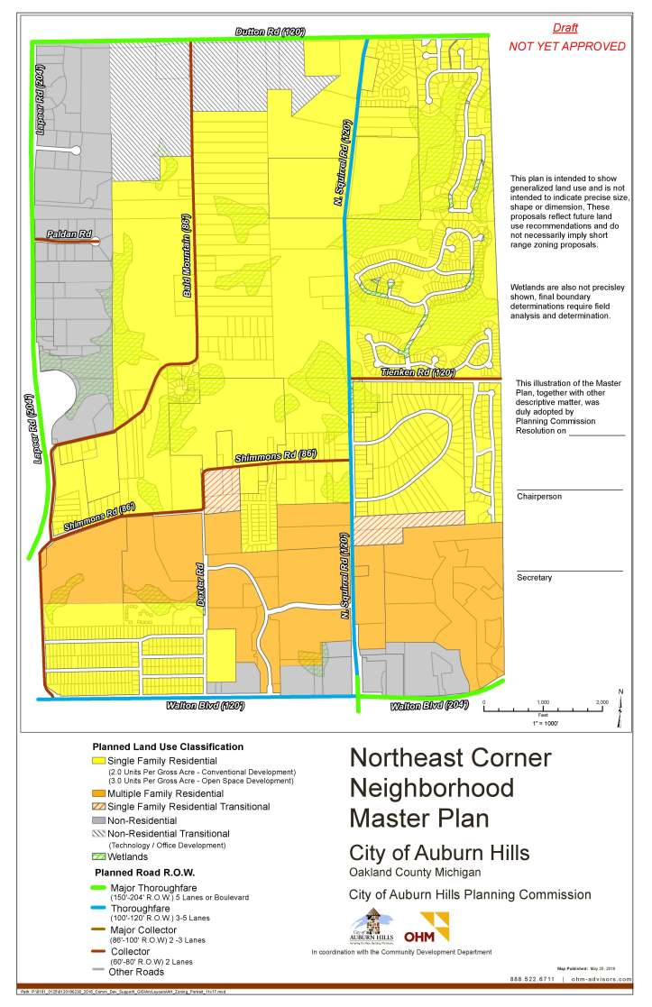 The Northeast Corner Neighborhood is the area bounded to the north by Dutton Road, south by Walton Boulevard, west by M-24, and east by the City of Rochester Hills border