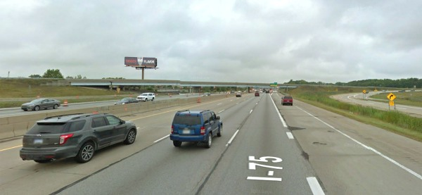 Artist rendering of the proposed digital billboard (view looking from northbound I-75)